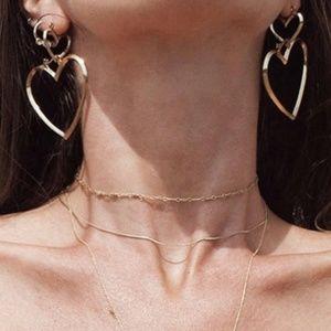 Set of 2 Heart Hoop Earrings